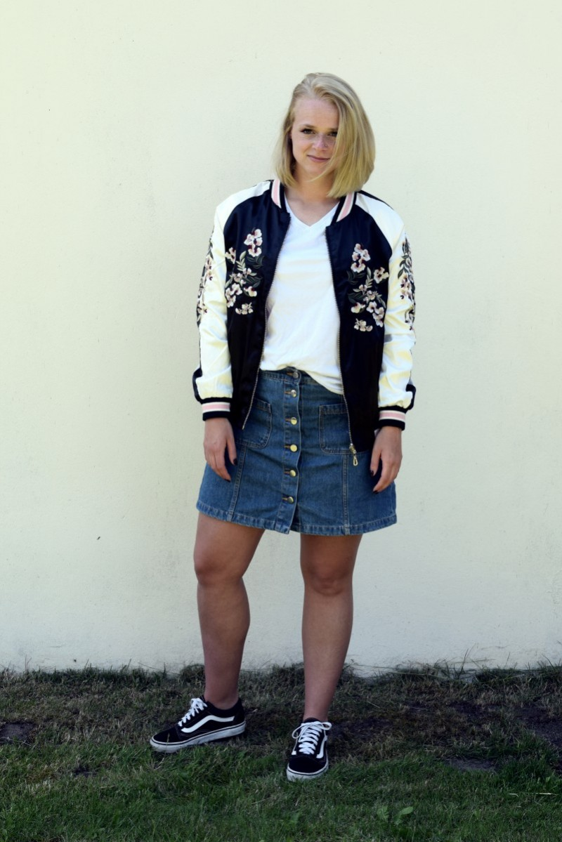 OUTFIT-rosegal-fashion-summer-bomberjacket-jeansrock-swanted